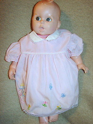 VINTAGE GERBER BABY DOLL 1970s PINK WHITE GINGHAM Body GOOGLY EYES MOLDED HAIR