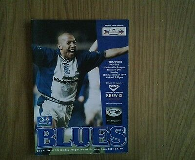 Birmingham Clty v Tranmere Rovers  PROGRAMME 1997