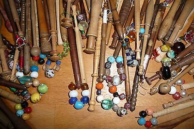 Antique wooden lacemaking bobbins (76 in total)