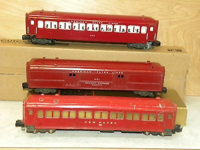 American Flyer Three Red Passenger Cars 650, 951, 955