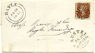 1841 1d Red Plate 29 (TG), Used On Cover, Superb St. Austell MX to Hayle
