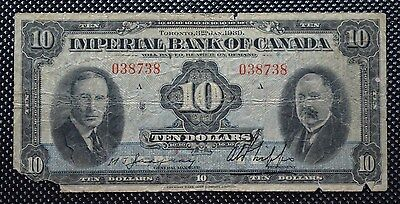 Imperial Bank Of Canada 1939 $10 Bank Note