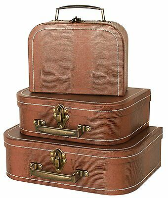 Wald Imports Brown Suitcases (Set of 3)