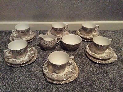 6 x Royal Vale Gold Floral Chintz Bone China Tea Set Wedding Cups Saucers Plates