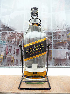 Johnnie Walker large bottle 4.5 liter whisky used Black Label EMPTY swing cradle