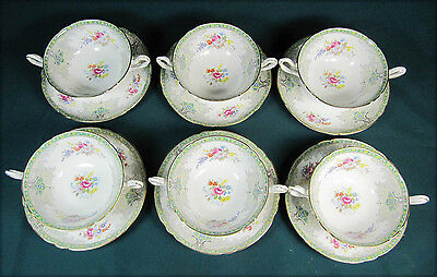 "Six SHELLEY "" Georgian Green "" Footed Soup Bowls and Under Plates"