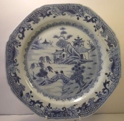 "Chinese 19th Century Figural 8.75"" Blue And White Plate A/F (2)"