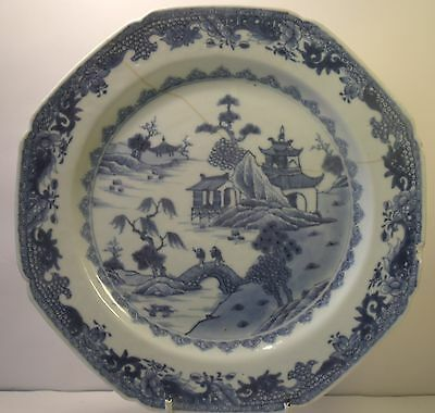 "Chinese 19th Century Figural 8.75"" Blue And White Plate A/F (1)"