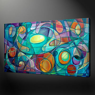 Colourful Cubism Design Abstract Canvas Wall Art Print Picture Ready To Hang