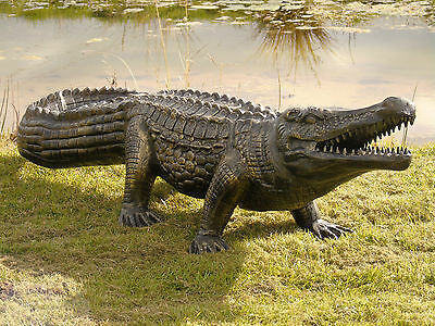 alligator statue / crocodile garden ornament  .... life size ....cast aluminium