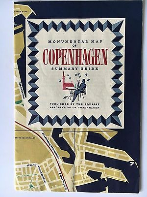 Vintage 1950s Monumental Map of Copenhagen and Summary Guide