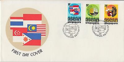 Singapore FDC 1977 Asean 10th Anniv. Flags Agriculture Industrial