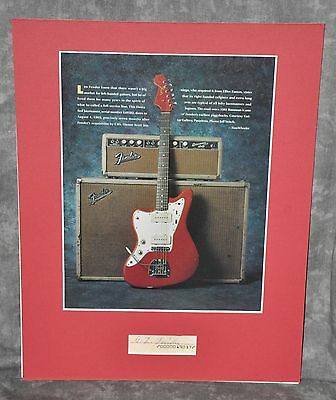 Leo Fender Autographed Cut Signature Matted With Jazzmaster Magazine Picture