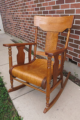 Victorian Era Farm House Antique Bent Wood Oak Rocking Rocker Chair Furniture