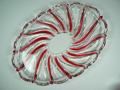 Mikasa Peppermint Swirl Clear Oval Glass Dish Red Accents