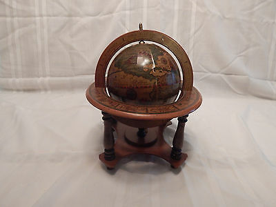 Wooden Table Top Reproduction Of A 1507 Terrestrial Globe Made In Italy