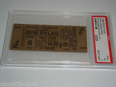 BOB DYLAN 1966 PSA AUTHENTICATED VINTAGE UNUSED CONCERT TOUR TICKET The Hawks