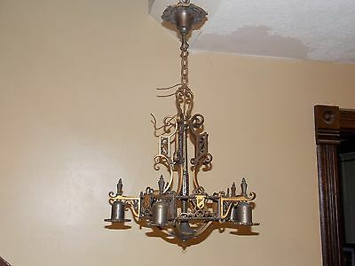 Antique Spanish Revival Chandelier 1920's vintage cast brass / bronze steampunk