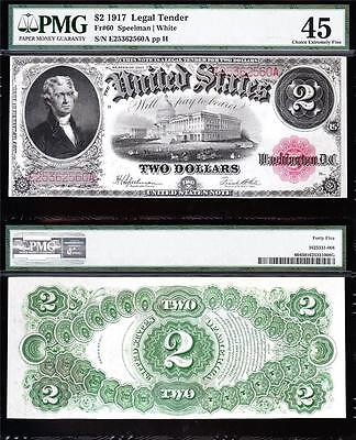"""Awesome HIGH GRADE $2 1917 """"BRACELET"""" US Note! PMG 45! FREE SHIPPING! E25362560A"""