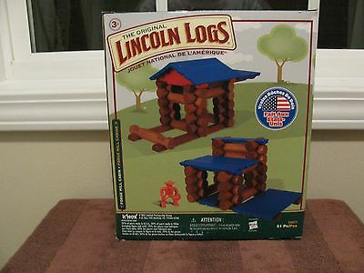 """The Original LINCOLN LOGS """"Forge Mill Cabin"""" 51 Pieces  Real Wood Logs """"NEW"""""""
