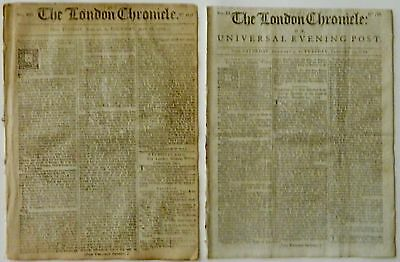 1762; 1767 THE LONDON CHRONICLE TWO COMPLETE, ORIGINAL NEWSPAPERS w/ GREAT ADS!