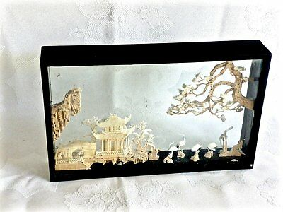 Outstanding  Hand Crafted Oriental  Cork  Diorama  Carving Boxed.
