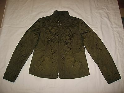 Banana Republic Women's Green Zip Up Quilted Pattern Long Sleeve Jacket Size M