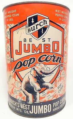 1950's BURCH POPCORN MACHINE 10 lb EMPTY POPCORN CAN #1 - Export, Pa Theatre