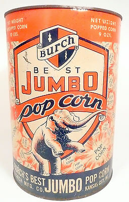 1950's BURCH POPCORN MACHINE 10 lb EMPTY POPCORN CAN #3 - Export, Pa Theatre