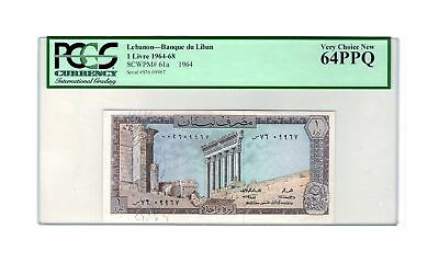 Lebanon 1 Livre 1964 P-61a PCGS 64 PPQ Very Choice Uncirculated Banknote