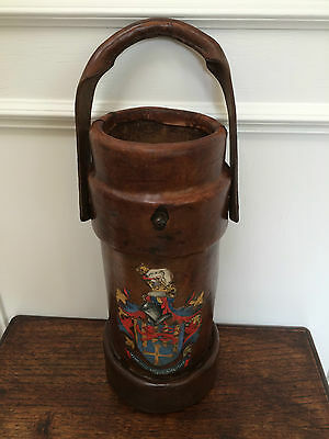 Antique Vintage English Leather Painted Cordite Carrier Powder Bucket Cane Stand