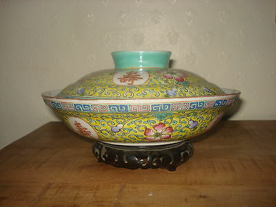 stunning chinese early 20th century period yellow colour large bowl with big lid