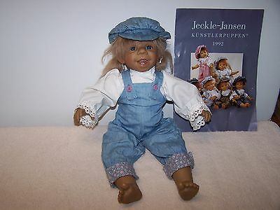 "Modern Jeckle-Jansen  German Doll  ""Maggie"" Smiling  Doll  18"" KUNSTLERPUPPEN"