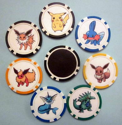 LOT 7 Pokemon Pikachu Vaporeon Eevee Mudkip Jolteon Flareon Poker Chip Magnets