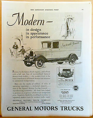 1927 magazine ad for GMC Trucks - Floral delivery truck, Modern in Design