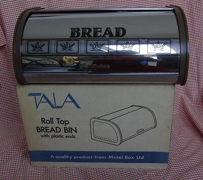 Vintage TALA Retro Roll Top Metal Bread Bin. Boxed Unused