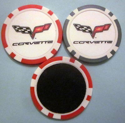 LOT of 2 Chevrolet Chevy Corvette Car Poker Chip Magnets Locker Refrigerator