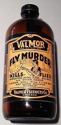Vintage 1930 Fly Murder Valmor Posion Bottle Great Condition