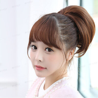 Pretty Girls Clip In Front Hair Bang Fringe Hair Extension Straight Wigs