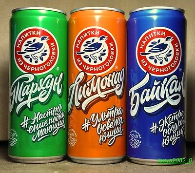 3 Drinks from Chernogolovka  soda cans 330 ml from Russia 2016