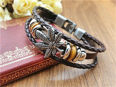 Jewelry Fashion Men's Women Charm Leather Bracelet Bangle Cuff Punk Style NEW D8