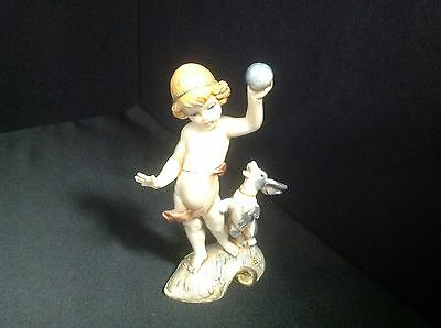 Vintage Fontanini Depose Italy Figurine #715, Girl Playing Ball with a Dog