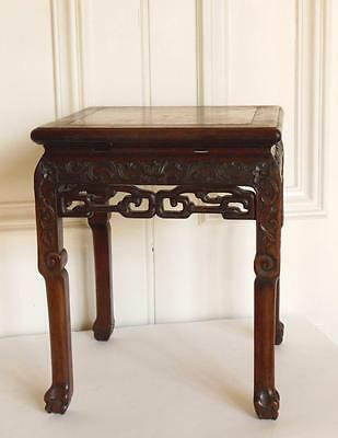 Chinese square jardiniere pot stand stool marble top. Qing dynasty, 19th C.