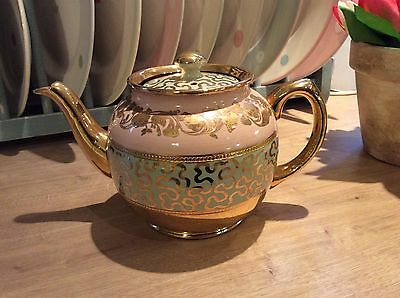 Beautiful Sadler Pink Green & Gold Teapot In Lovely Condition