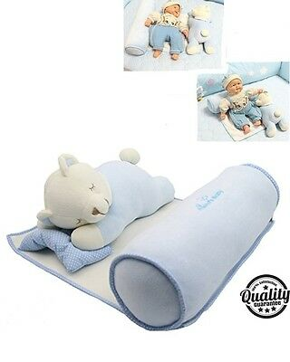 Baby Safety Anti Roll Pillow Sleep Positioner Adjustable Head Neck Support, Blue