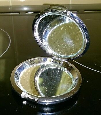 Ladies Silver Metal Compact Make up Mirror - Great Item