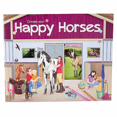 Depesche Create your Happy Horses Malbuch Stickerbuch Sticker Pferde 5689_A