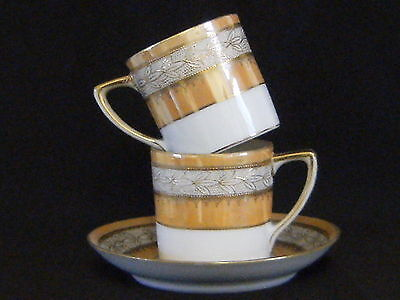 Stunning Noritake Japan lustre and gilded 2xcoffee can and 1xsaucer, VG conditi