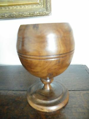 Antique Turned Treen Highly Patinated Footed Knop Stem Goblet