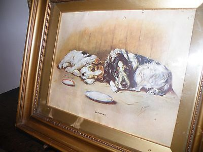 Charming Vintage Print By Mabel Gear Entitled 'satisfied' In Giltwood Frame